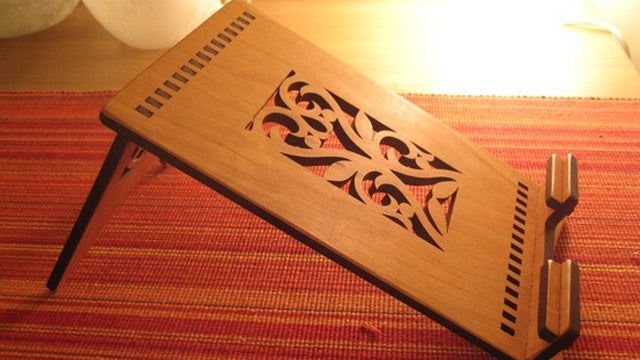 Boost Your iPad's Ego With This Laser Cut Cherry Wood Stand