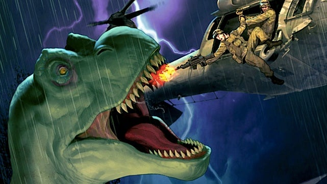 "An exclusive art preview of DC Comics' new ""dinosaurs versus soldiers"" title"
