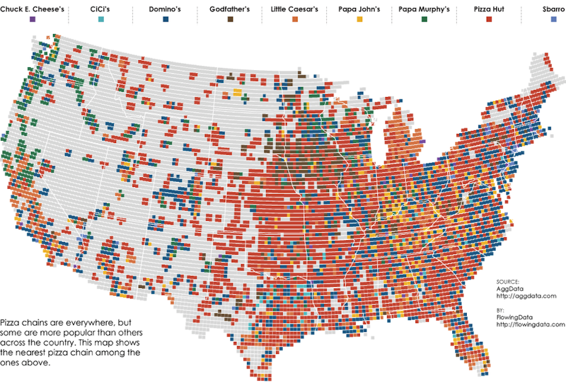 A Map of the Closest Pizza Place to Anywhere in the United States