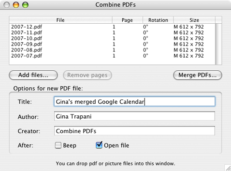 Merge multiple PDF's with Combine PDFs 2.1