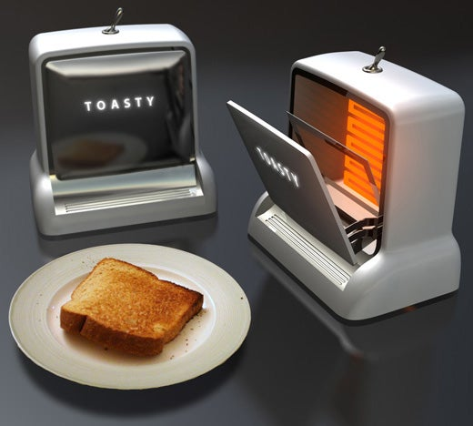 Toasty the Toaster Burns Your Toast in Retro Style