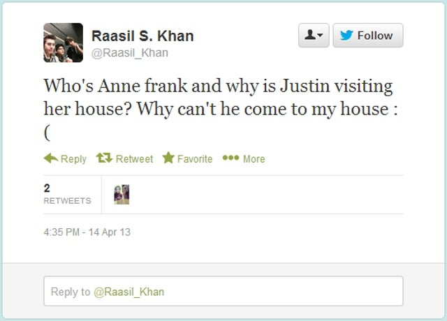 Anne Frank House Not Mad At Justin Bieber for 'Belieber' Comment: 'He Could Be Doing Other Things in Amsterdam'