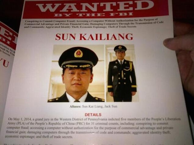 The FBI Just Issued Wanted Posters for 5 Chinese Army Officers