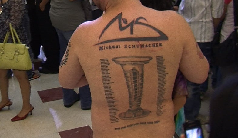 Man tattoos Michael Schumacher's entire history on his back