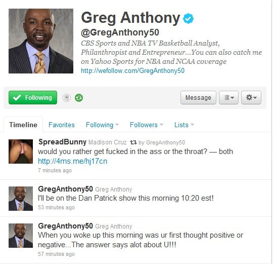 "Look, That Greg Anthony Retweet About Getting ""Fucked In The Ass Or The Throat"" Was Spam, OK?"