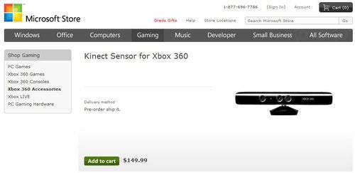 Kinect Priced at $150 On Microsoft's Online Store