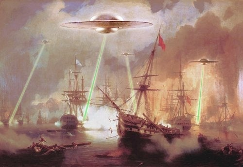 Spaceships and lightsabers, as envisioned by the Great Masters!