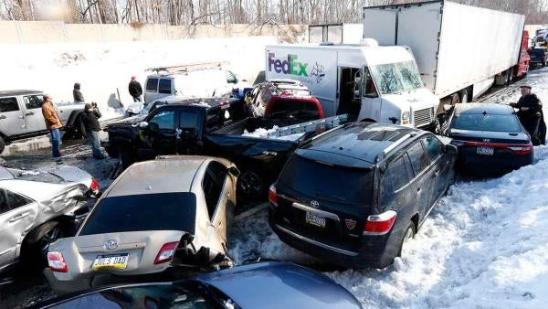 Sun Glare and Slick Roads Lead to Massive Turnpike pile-up in Philly