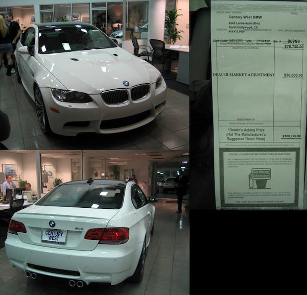 First 2008 BMW M3s Marked Up To $100k