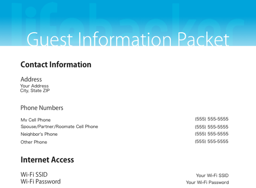 Our Handy, Printable Guest Information Packet
