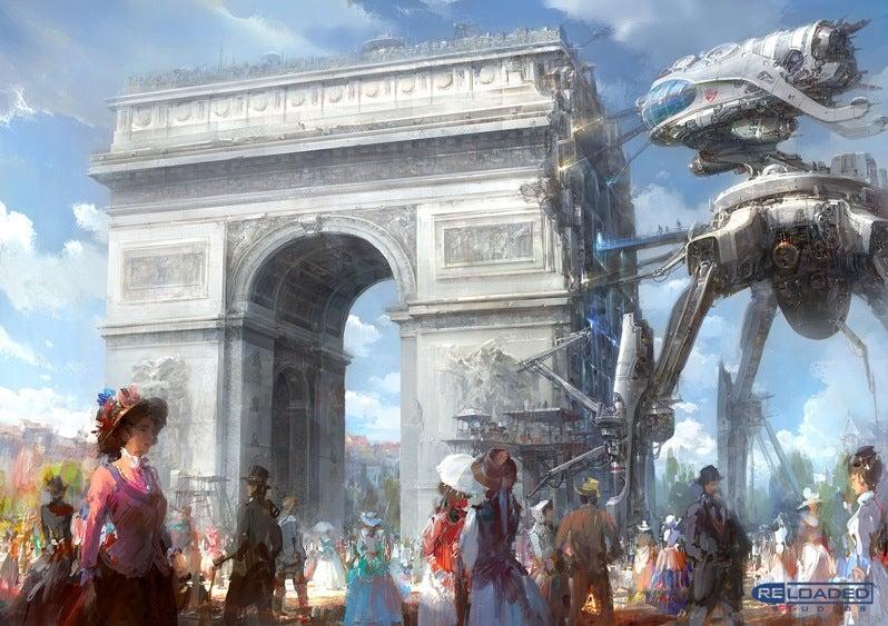 Giant Robot Repairs the Arc de Triomphe