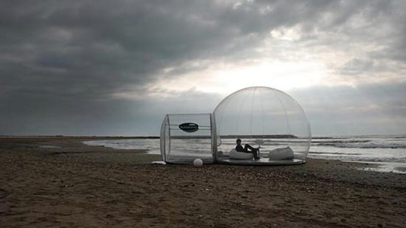 She watched the sun rise from a smart bubble at the edge of the sea