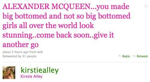 Celebs Mourn Alexander McQueen On Twitter
