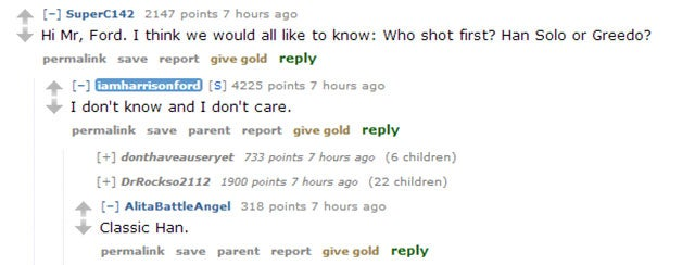 Someone Asked Harrison Ford Who Shot First