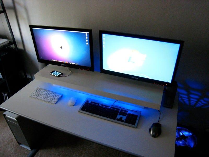 Dual Screens, Blue LEDs, and a DIY Desk Shelf