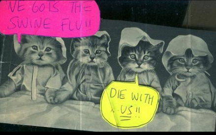 "Kreepie Kats in ""We Gots the Swine Flu!! Die With Us!!"""
