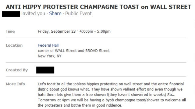 Snobby Illiterati to Protest Wall St. 'Hippies' With Champagne Toast