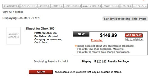 Kinect Pricing Leaked At $150