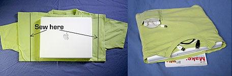 DIY tee-shirt laptop case