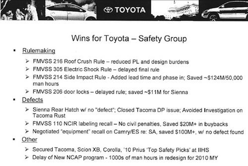 "Toyota Internal Documents Brag of Saving $100M by Negotiating ""Limited"" Recall"