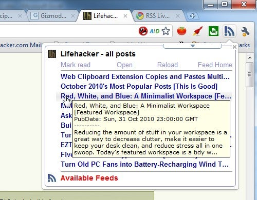 RSS Live Links Is a Live Bookmarks Style RSS Reader for Google Chrome