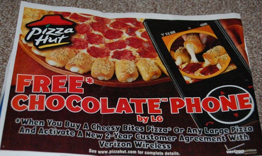 Weird Combo of the Day: Free LG Chocolate Phone with Pizza