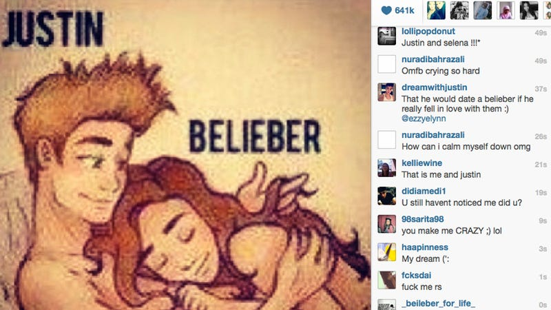 Tumbling Further Down the Rabbit Hole, Bieber Posts Cartoon of Himself in Bed with a Naked Fan