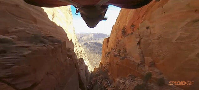 I never get tired of seeing lunatics flying into this deadly canyon