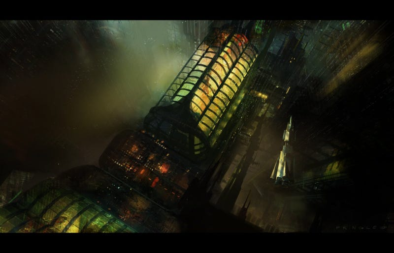 The otherworldly lights of the haunted space elevator