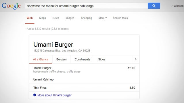 Google Adds Restaurant Menus to Search Results