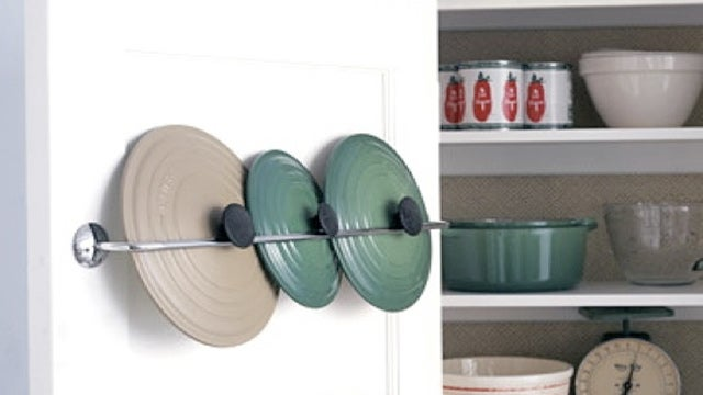 Repurpose a Towel Rack into a Pot Lid Rack