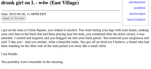The L Train: New York's Sexiest, Most Romantic Pick-Up Spot