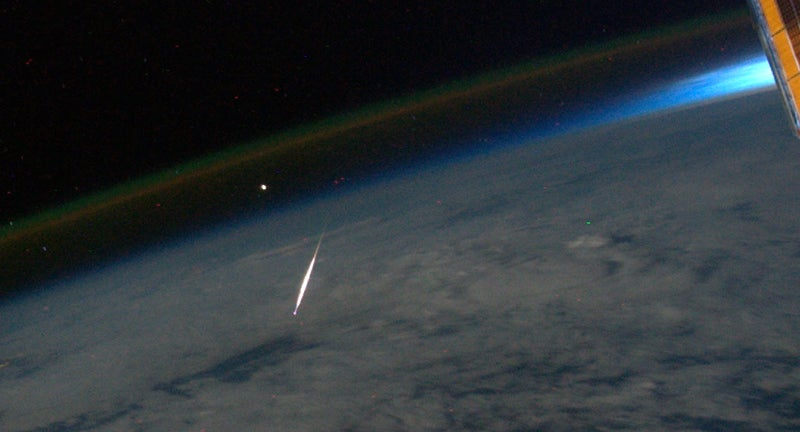 A Perseid Meteor, Photographed from Space