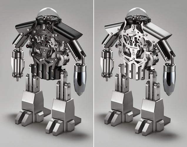 There's an Incredibly Complex Clock Inside This Miniature Mechanical Man