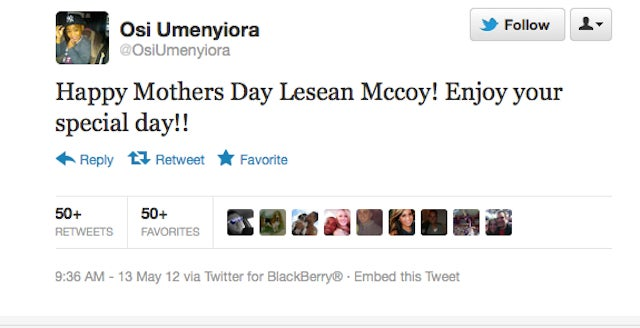 "Osi Umenyiora Wishes ""Twitter Gangster"" LeSean McCoy A Happy Mother's Day...On Twitter"
