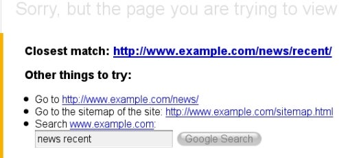 Google 404 Pages Help Your Web Visitors Find the Right Page