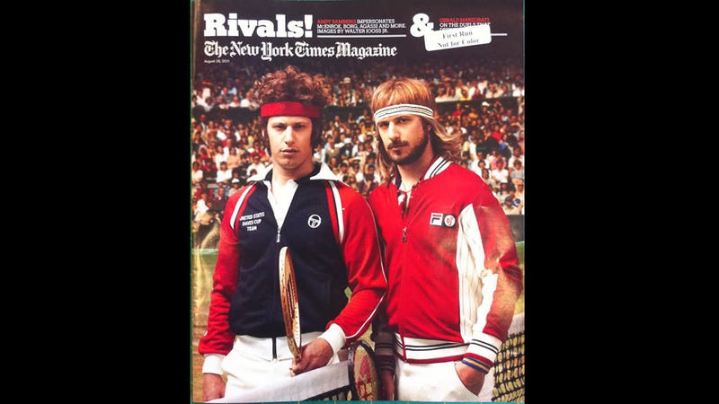 Here Is Andy Samberg Playing Both 70s Bjorn Borg And John McEnroe On The Cover Of NYT Magazine