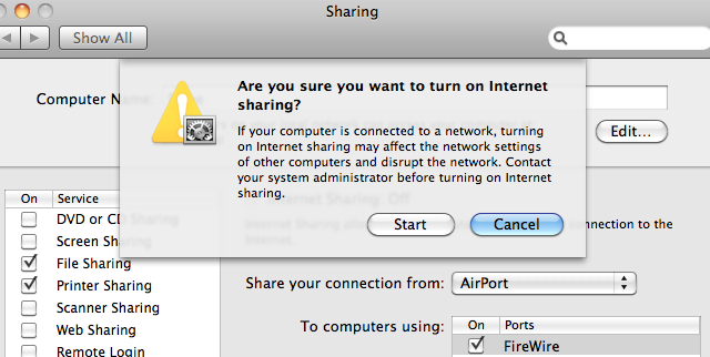 Quickly Toggle Sharing Preferences in OS X with an AppleScript