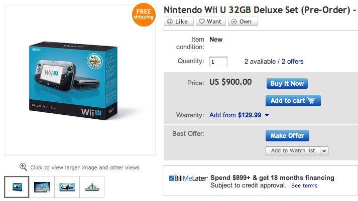 Someone's Already Trying to Sell a Wii U on eBay. For $900.