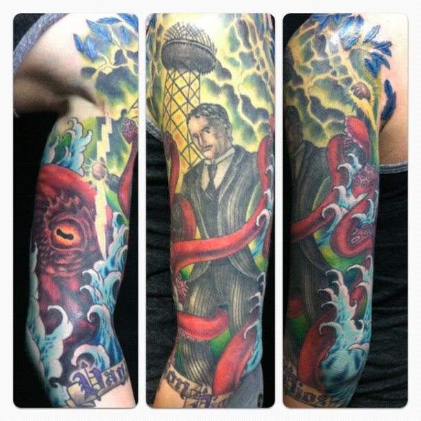 Is this tattoo of Nikola Tesla wrestling a kraken a great tattoo, or the greatest tattoo?