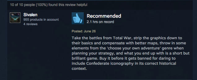 Civil War Game Pulled From Apple Store Now Doing Great On Steam