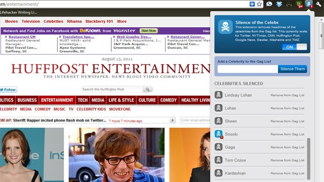 Silence of the Celebs Extension Removes Celebrities from News Sites