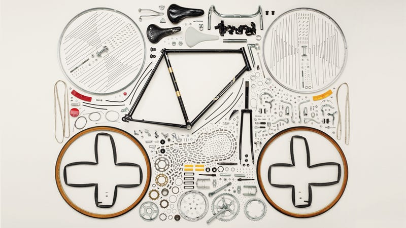 Disassembly photo of a bicycle by gizmodo