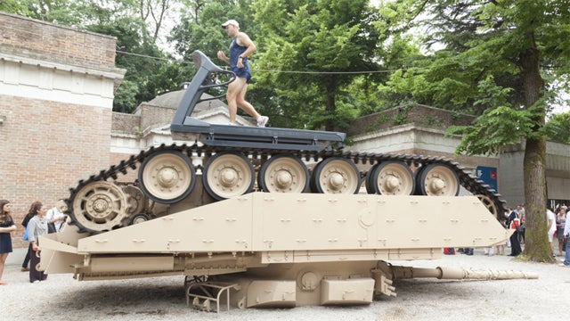 An Overturned Army Tank is a Treadmill For Olympic Athletes