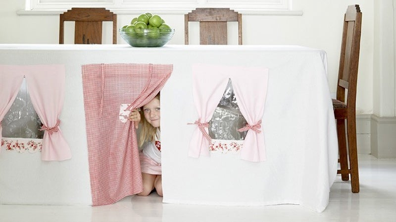 Extra-Long Tablecloth Instantly Turns Any Table Into a Fort