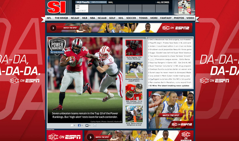 Here's Why ESPN Has A Huge Ad On SI's Website Today