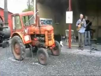 Ancient Volvo Tractor Starts Second Career As Drummer In Country Band