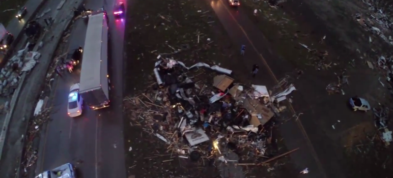 Drone Cam Shows Arkansas Tornado's Horrific Path Of Destruction