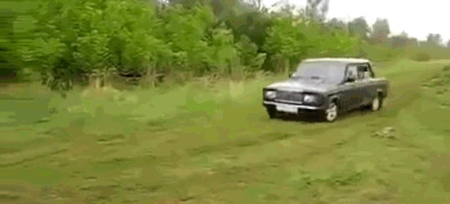 Drift Gone Horribly Wrong Ends With Lada Riva In River