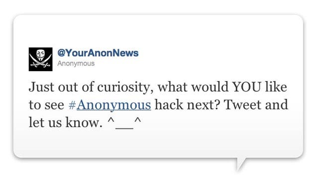 Anonymous' Tweet Asks People 'What to Hack Next'